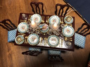 Table wfrom England with electric lanterns